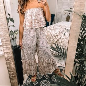 Fall vibes floral smocked strapless jumpsuit